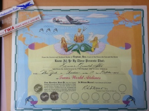 The romance of my first Atlantic crossings was memorialized by this wonderful hand lettered certificate.
